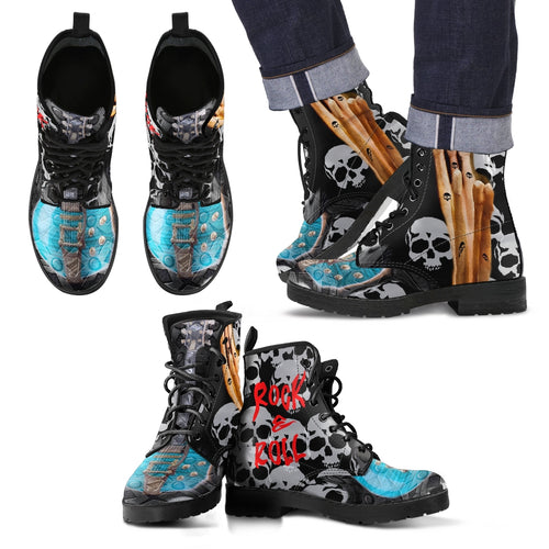 Men's leather boots rock and roll