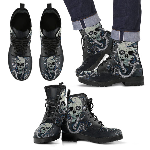 Men's leather boots Skull With Octopus Tentacles  V4
