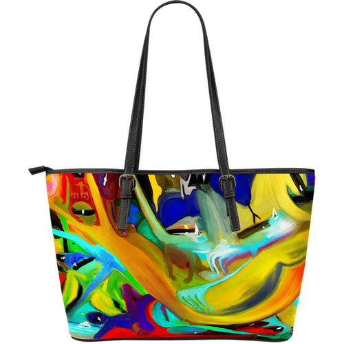 Large leather tote bag wicked waters
