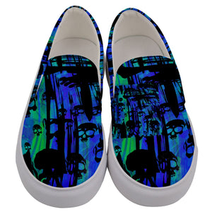 Men's slipons blue/teal skulls