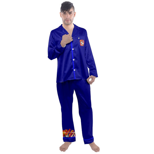 Men's pj/ -freak/ 000080 Men's Long Sleeve Satin Pyjamas Set