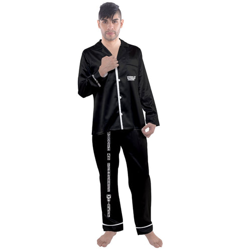Men's pj/ 000000 Men's Long Sleeve Satin Pyjamas Set