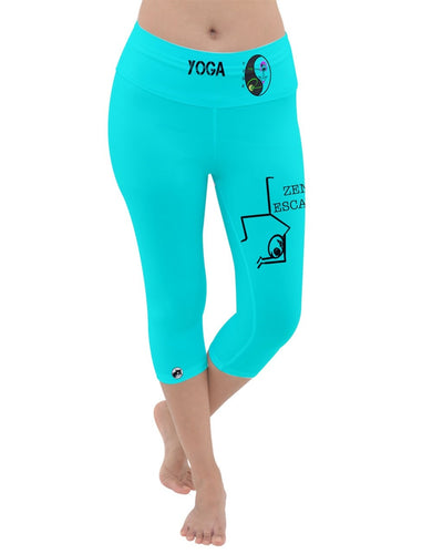 Yoga pants 00ffff Lightweight Velour Capri Yoga Leggings