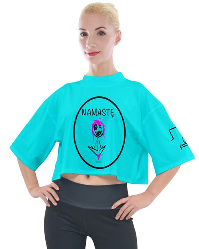 WOMENS TSHIRTS 00ffff Mock Neck Tee