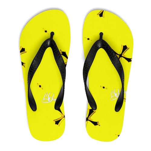 Unisex Flip-Flops yellow cross43