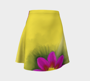 Flare skirt Flower print with yellow