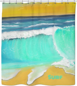 Shower curtain Ocean Painting Surf