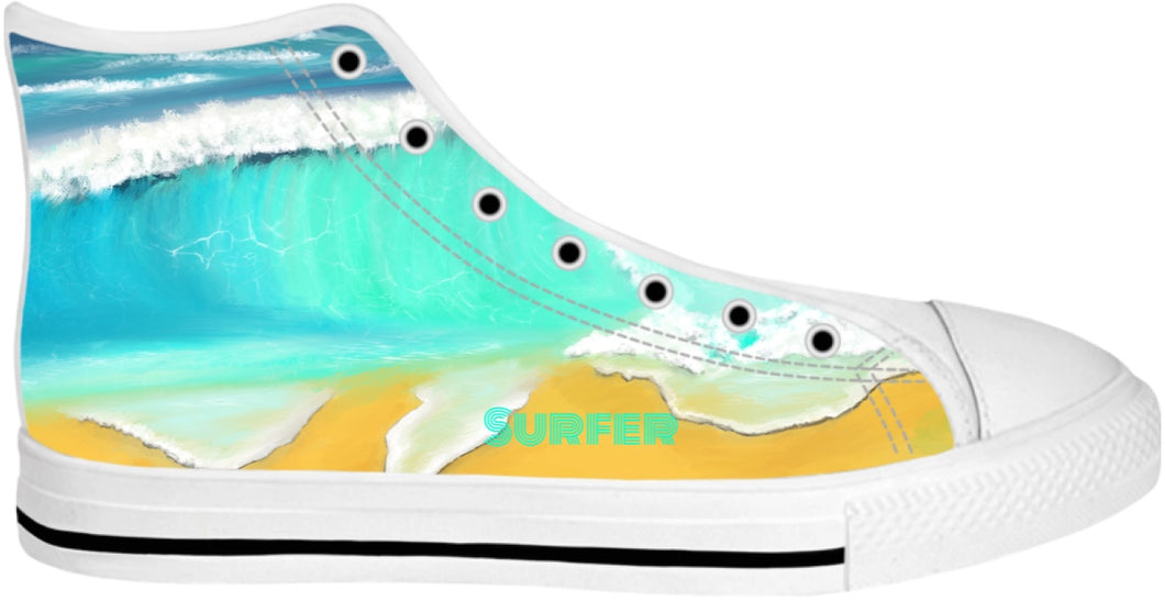 High Top shoes/Ocean Painting Surfer
