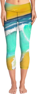 Yoga pants Ocean Painting Surf