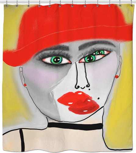 Shower curtain Abstract Painting Red Hat Lady