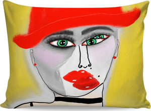 Pillow cases Abstract Painting Red Hat Lady56