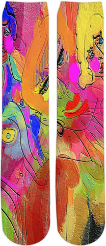 Knee high socks Abstract Painting Collection Female Power