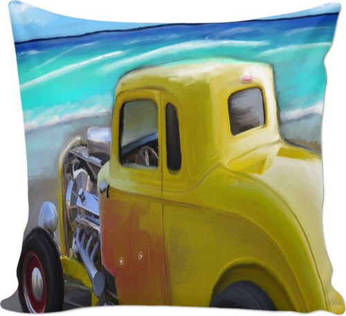 Couch pillow Yellow Classic hotrod 17