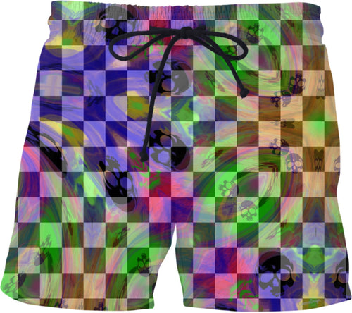Swim Shorts Check B/w Multi Color Skull