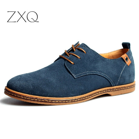 fashion men casual shoes lace up male suede oxfords men leather shoes