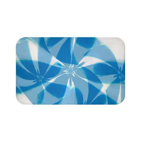 Bath Mats 16 blue flower