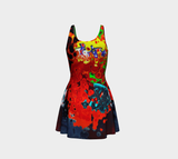 Flare dress Red abstract pattern22