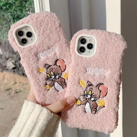 Winter Warm Cute Wool Plush Phone Case For iPhone 11 Pro Max 6 6S 7 8 Plus Soft Furry Fur Back Cover For iPhone X XS XR