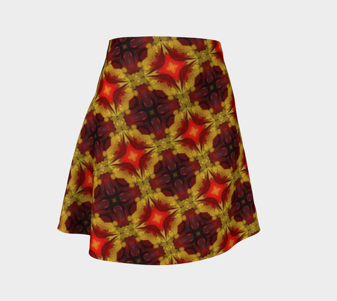 Flare skirt Pattern yellow/orgreds