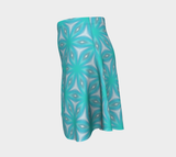 Flare skirt Green blue flower print