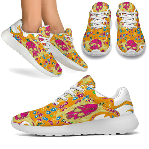 Sports Sneakers/Flower and skulls