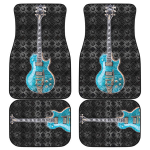 Car floor mats front and back Guitar/turquoise with metal background