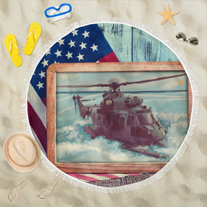 Beach blanket round Patriotic