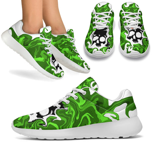 Women's sneakers/Green camo skull