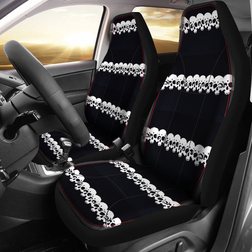 Car seat covers skulls blk/wh