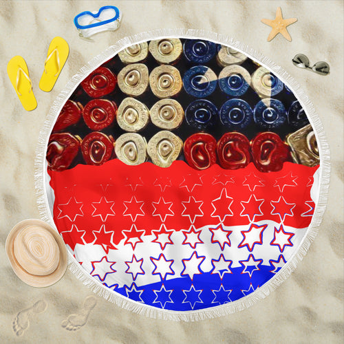Beach blanket round Gunshells