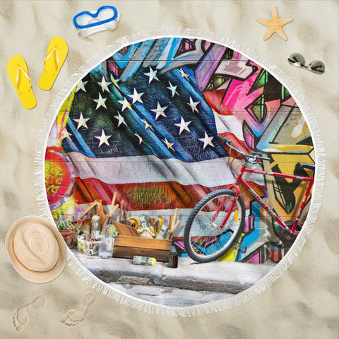 Beach blanket round Patriotic 2