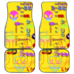 Car floor mats front and back yellow raver
