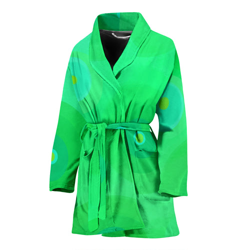 Women's robe green circles8