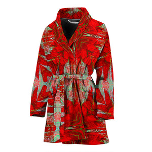 Women's robe  red flower robe18