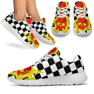 Women's sneakers/Checked red skull
