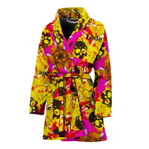 Women's robe  barber theme yellow5