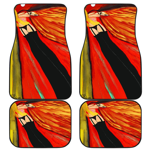 Car floor mats front and back fire woman