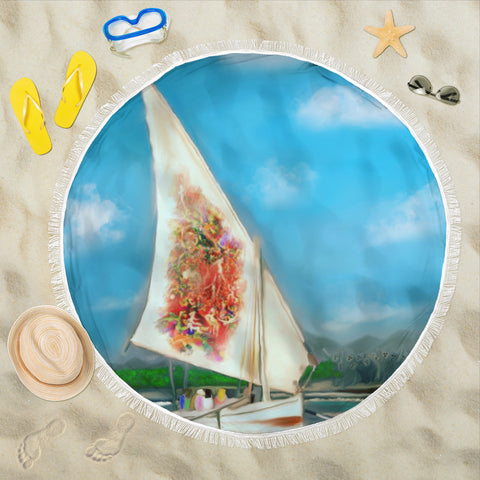 Beach blanket round Sailing