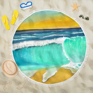 Beach blanket round Ocean wave