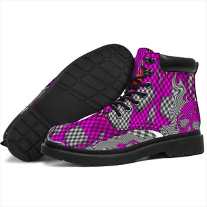 Women's all season boots/Checked back skulls