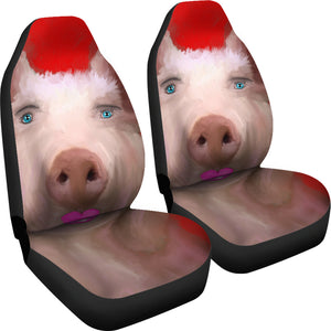 Car seat covers Pig with lipstick art