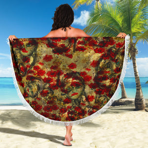 Beach blanket round Borg and flowers
