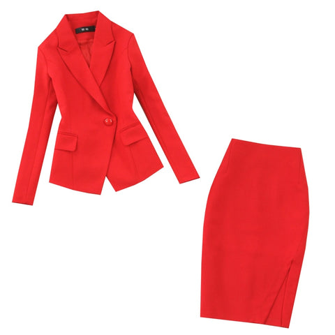 Women's suits new large size red long-sleeved single buckle suit hip skirt two-piece suit