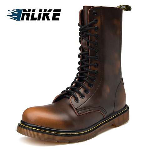 INLIKE Men Big Size Motorcycle Boots Genuine Leather Cool Rivet Combat Army Men Boots