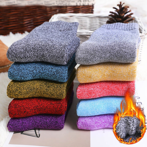 5Pairs New Winter Wamer Women Thicken Thermal Wool Cashmere Snow Socks Seamless