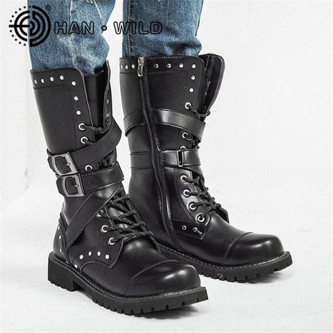High Top Desert Tactical Military Boots Mens Leather Motorcycle Boots