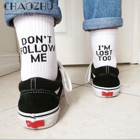 CHAOZHU Black White Cotton Socks AB Side Don't Follow Me I'm Lost too Creative Unisex Women Men Casual Socks Daily