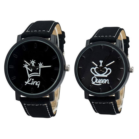 Fashion Couple Watches Queen King Crown Fuax Leather Quartz Analog Men and Women Wrist Watch