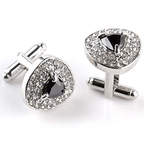 Luxury Cufflinks For Mens And Women Zircon Black Purple White Crystal