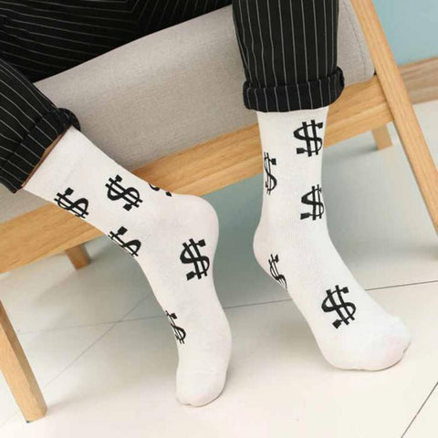 New Hot Fashion Men Socks Dollar Symbol Absorb Sweat Anti-slip Man Middle Long Sock